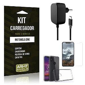 Kit Carregador Tipo C Motorola One Carregador + Película + Capa - Armyshield