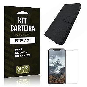 Kit Capa Carteira Motorola One Capa Carteira + Película - Armyshield