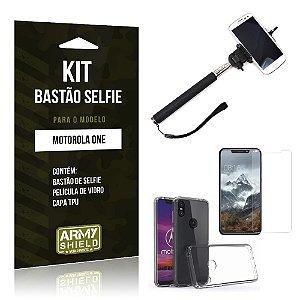 Kit Bastão Selfie Motorola One Bastão + Película + Capa - Armyshield