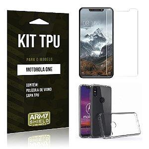 Kit Capa Silicone Motorola One Película + Capa - Armyshield