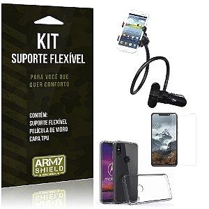 Kit Suporte Flexível Motorola One Suporte + Película + Capa - Armyshield
