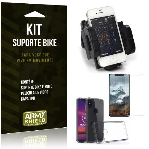 Kit Suporte Moto Bike Motorola One Suporte + Película + Capa - Armyshield
