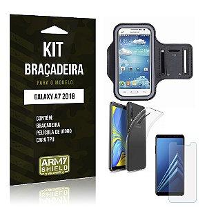 Kit Braçadeira Galaxy A7 2018 Braçadeira + Película + Capa - Armyshield