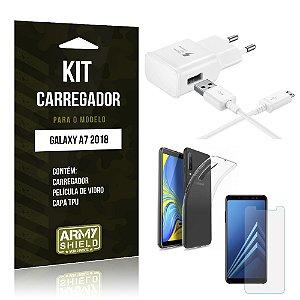 Kit Carregador Galaxy A7 2018 Carregador + Película + Capa - Armyshield
