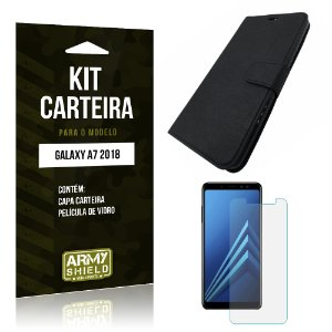Kit Capa Carteira Galaxy A7 2018 Capa Carteira + Película - Armyshield