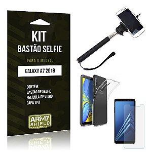 Kit Bastão Selfie Galaxy A7 2018 Bastão + Película + Capa - Armyshield