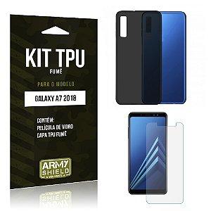 Kit Capa Fumê Galaxy A7 2018 Película + Capa Fumê - Armyshield