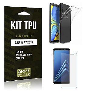Kit Capa Silicone Galaxy A7 2018 Película + Capa - Armyshield