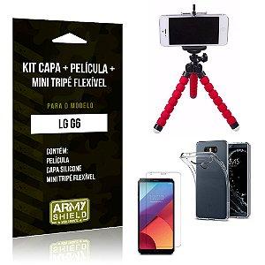 Kit LG G6 Capa Silicone + Película de Vidro + Mini Tripé Flexível - Armyshield