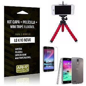 Kit LG K10 Novo Capa Silicone + Película de Vidro + Mini Tripé Flexível - Armyshield