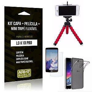 Kit LG K10 Pro Capa Silicone + Película de Vidro + Mini Tripé Flexível - Armyshield