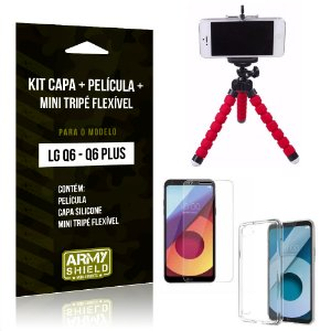 Kit LG Q6 - Q6 Plus Capa Silicone + Película de Vidro + Mini Tripé Flexível - Armyshield