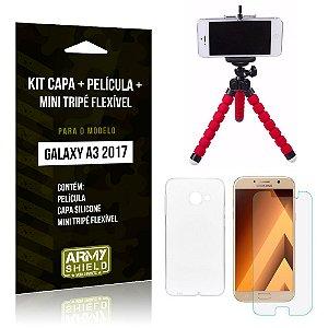 Kit Galaxy A3 (2017) Capa Silicone + Película de Vidro + Mini Tripé Flexível - Armyshield