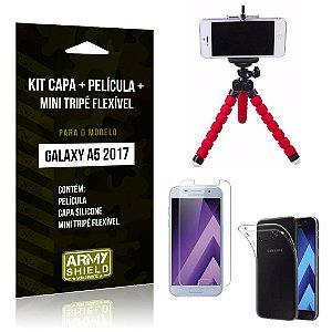 Kit Galaxy A5 (2017) Capa Silicone + Película de Vidro + Mini Tripé Flexível - Armyshield