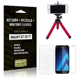 Kit Galaxy A7 (2017) Capa Silicone + Película de Vidro + Mini Tripé Flexível - Armyshield