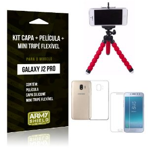 Kit Galaxy J2 Pro 2018 Capa Silicone + Película de Vidro + Mini Tripé Flexível - Armyshield