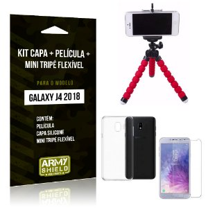 Kit Galaxy J4 (2018) Capa Silicone + Película de Vidro + Mini Tripé Flexível - Armyshield
