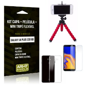 Kit Galaxy J4 Plus (2018) Capa Silicone + Película de Vidro + Mini Tripé Flexível - Armyshield