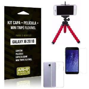 Kit Galaxy J6 (2018) Capa Silicone + Película de Vidro + Mini Tripé Flexível - Armyshield