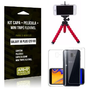 Kit Galaxy J6 Plus (2018) Capa Silicone + Película de Vidro + Mini Tripé Flexível - Armyshield