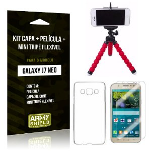 Kit Galaxy J7 Neo (2017) Capa Silicone + Película de Vidro + Mini Tripé Flexível - Armyshield