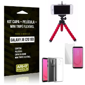 Kit Galaxy J8 (2018) Capa Silicone + Película de Vidro + Mini Tripé Flexível - Armyshield