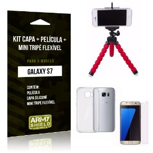 Kit Galaxy S7 Capa Silicone + Película de Vidro + Mini Tripé Flexível - Armyshield