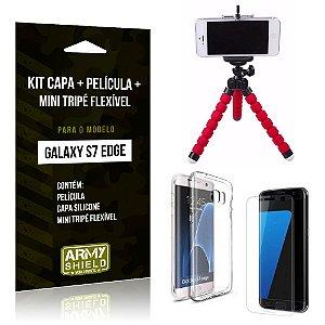 Kit Galaxy S7 Edge Capa Silicone + Película de Vidro + Mini Tripé Flexível - Armyshield