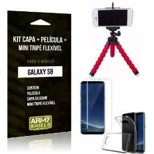 Kit Galaxy S8 Capa Silicone + Película de Vidro + Mini Tripé Flexível - Armyshield