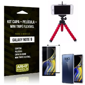 Kit Galaxy Note 9 Capa Silicone + Película de Vidro + Mini Tripé Flexível - Armyshield
