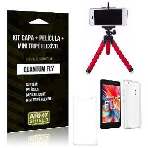 Kit Quantum Fly Capa Silicone + Película de Vidro + Mini Tripé Flexível - Armyshield