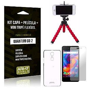 Kit Quantum Go 2 Capa Silicone + Película de Vidro + Mini Tripé Flexível - Armyshield