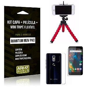 Kit Quantum Muv Pro Capa Silicone + Película de Vidro + Mini Tripé Flexível - Armyshield