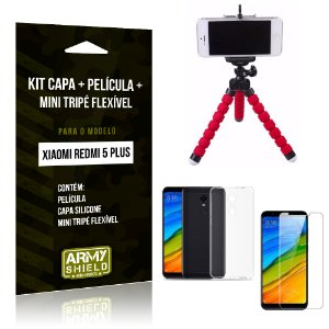 Kit Xiaomi Redmi 5 Plus Capa Silicone + Película de Vidro + Mini Tripé Flexível - Armyshield