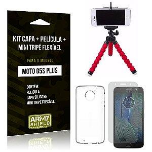 Kit Moto G5S Plus Capa Silicone + Película de Vidro + Mini Tripé Flexível - Armyshield