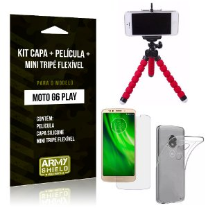 Kit Moto G6 Play Capa Silicone + Película de Vidro + Mini Tripé Flexível - Armyshield