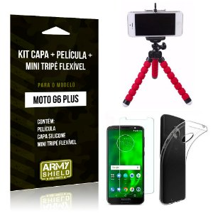 Kit Moto G6 Plus Capa Silicone + Película de Vidro + Mini Tripé Flexível - Armyshield