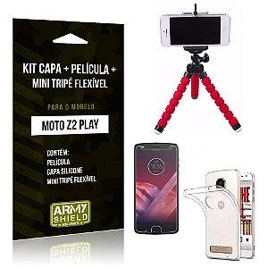 Kit Moto Z 2 Play Capa Silicone + Película de Vidro + Mini Tripé Flexível - Armyshield