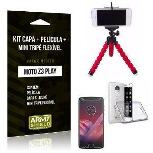 Kit Moto Z 3 Play Capa Silicone + Película de Vidro + Mini Tripé Flexível - Armyshield
