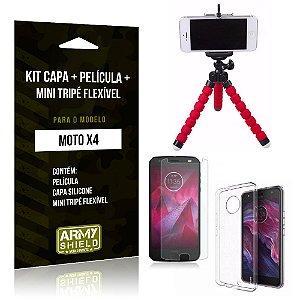 Kit Moto X4 Capa Silicone + Película de Vidro + Mini Tripé Flexível - Armyshield
