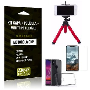 Kit Moto One Capa Silicone + Película de Vidro + Mini Tripé Flexível - Armyshield