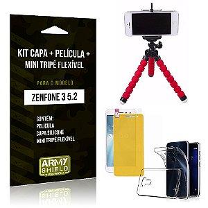 Kit Zenfone 3 - 5.2' ZE520KL Capa Silicone + Película Gel + Mini Tripé Flexível - Armyshield