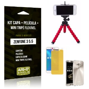 Kit Zenfone 3 - 5.5' ZE552KL Capa Silicone + Película Gel + Mini Tripé Flexível - Armyshield
