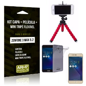 Kit Zenfone 3 Max - 5.2' ZC520TL Capa Silicone + Película Gel + Mini Tripé Flexível - Armyshield