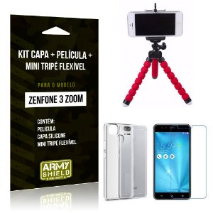 Kit Zenfone 3 Zoom - ZE553KL Capa Silicone + Película Gel + Mini Tripé Flexível - Armyshield