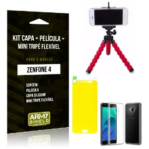 Kit Zenfone 4 - 5.5' ZE554KL Capa Silicone + Película Gel + Mini Tripé Flexível - Armyshield