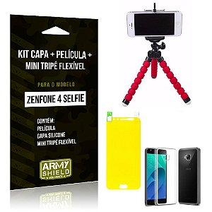 Kit Zenfone 4 Selfie - 5.5' ZD553KL Capa Silicone + Película Gel + Mini Tripé Flexível - Armyshield
