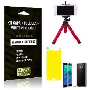 Kit Zenfone 4 Selfie Pro 5.2' ZD552KL Capa Silicone + Película Gel + Mini Tripé Flexível - Armyshield