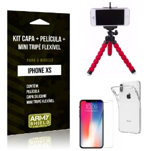 Kit iPhone XS Capa Silicone + Película de Vidro + Mini Tripé Flexível - Armyshield