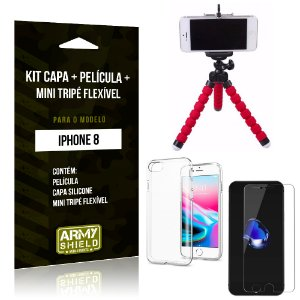 Kit iPhone 8 Capa Silicone + Película de Vidro + Mini Tripé Flexível - Armyshield